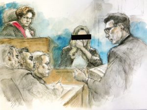 Trial Sketch by Pam Davies CBC
