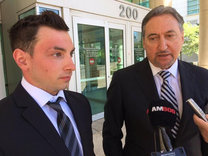 Brandin Crosier and his lawyer Patrick Ducharme. Photo courtesy of AM800 News